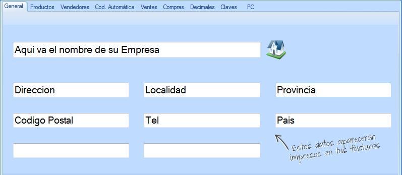 鈥岰ompleta los datos de tu empresa que aparecer谩n impresos en los comprobantes de venta