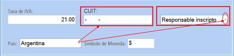 鈥岴n modalidad Argentina debes completar el campo CUIT y responsabilidad frente al IVA