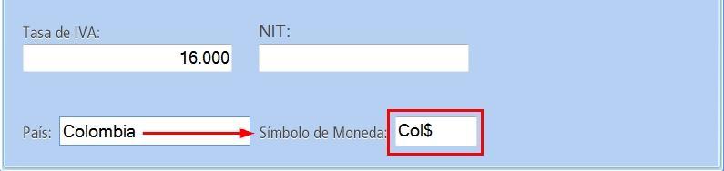 En el campo: S铆mbolo de Moneda aparece el correspondiente al pa铆s seleccionado鈥�