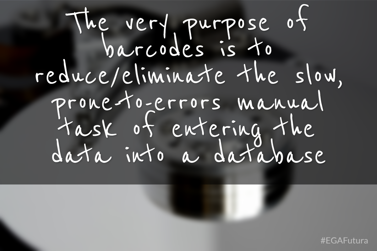 The very purpose of barcodes is to reduce/eliminate the slow, prone-to-errors manual task of entering the data into a database