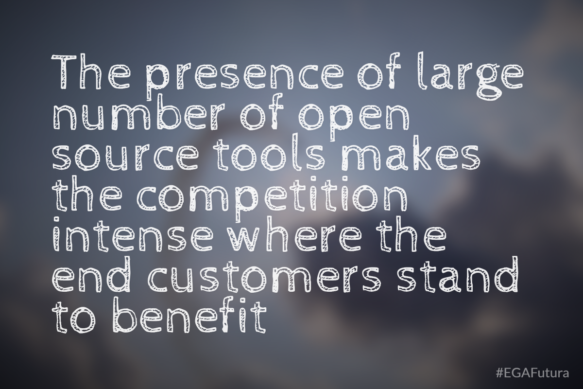 The presence of large number of open source tools makes the competition intense where the end customers stand to benefit