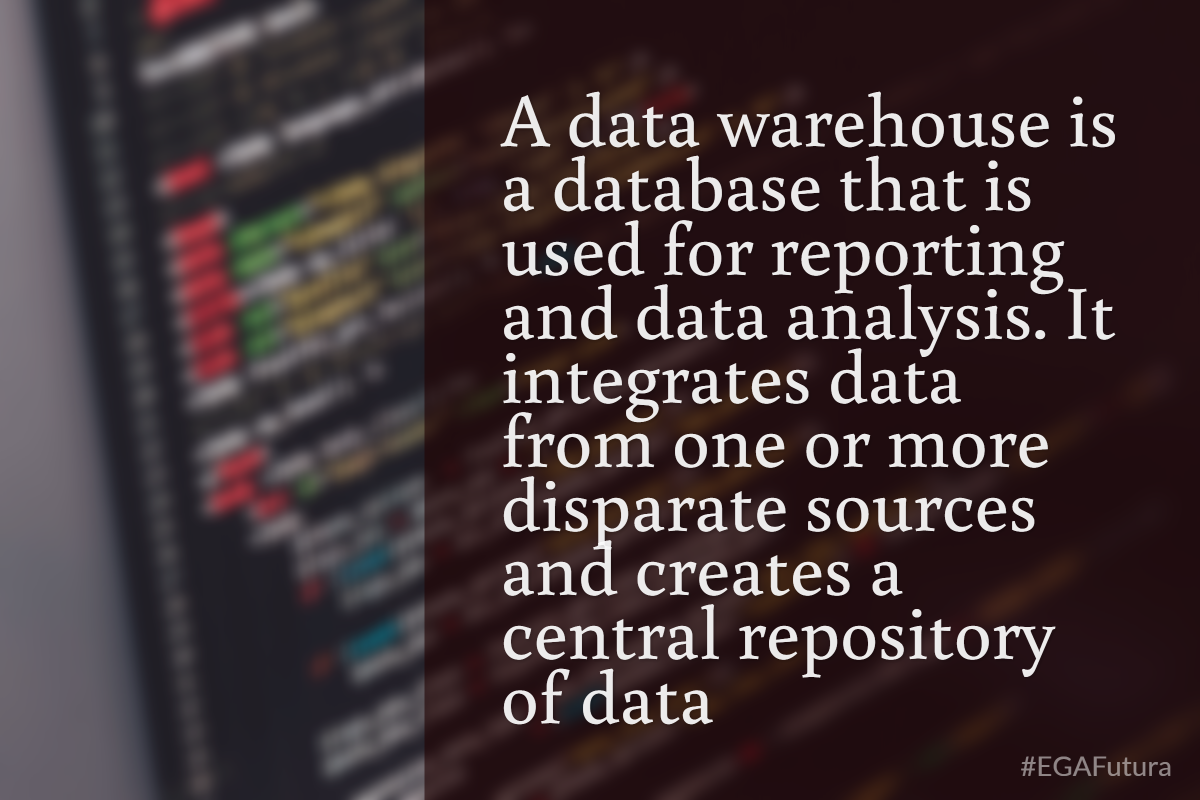 A data warehouse is a database that is used for reporting and data analysis. It integrates data from one or more disparate sources and creates a central repository of data