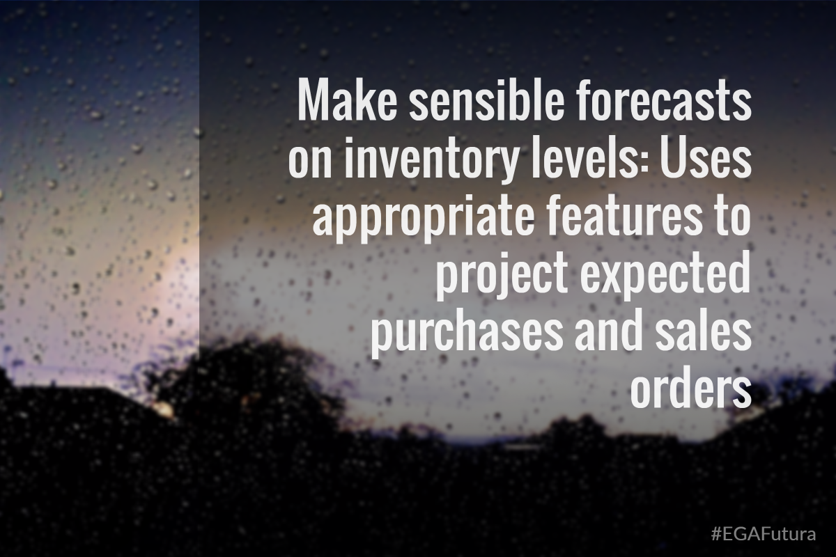 Make sensible forecasts on inventory levels: Uses appropriate features to project expected purchases and sales orders