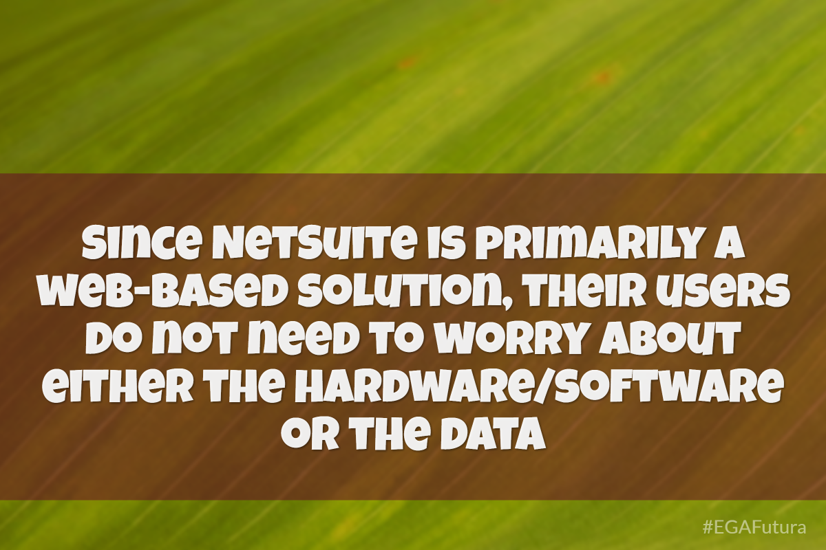 Since NetSuite is primarily a web-based solution, their users do not need to worry about either the hardware/software or the data
