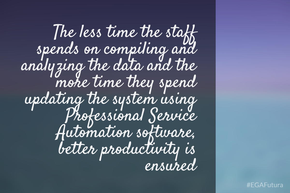 The less time the staff spends on compiling and analyzing the data and the more time they spend updating the system using PSA software, better productivity is ensured.