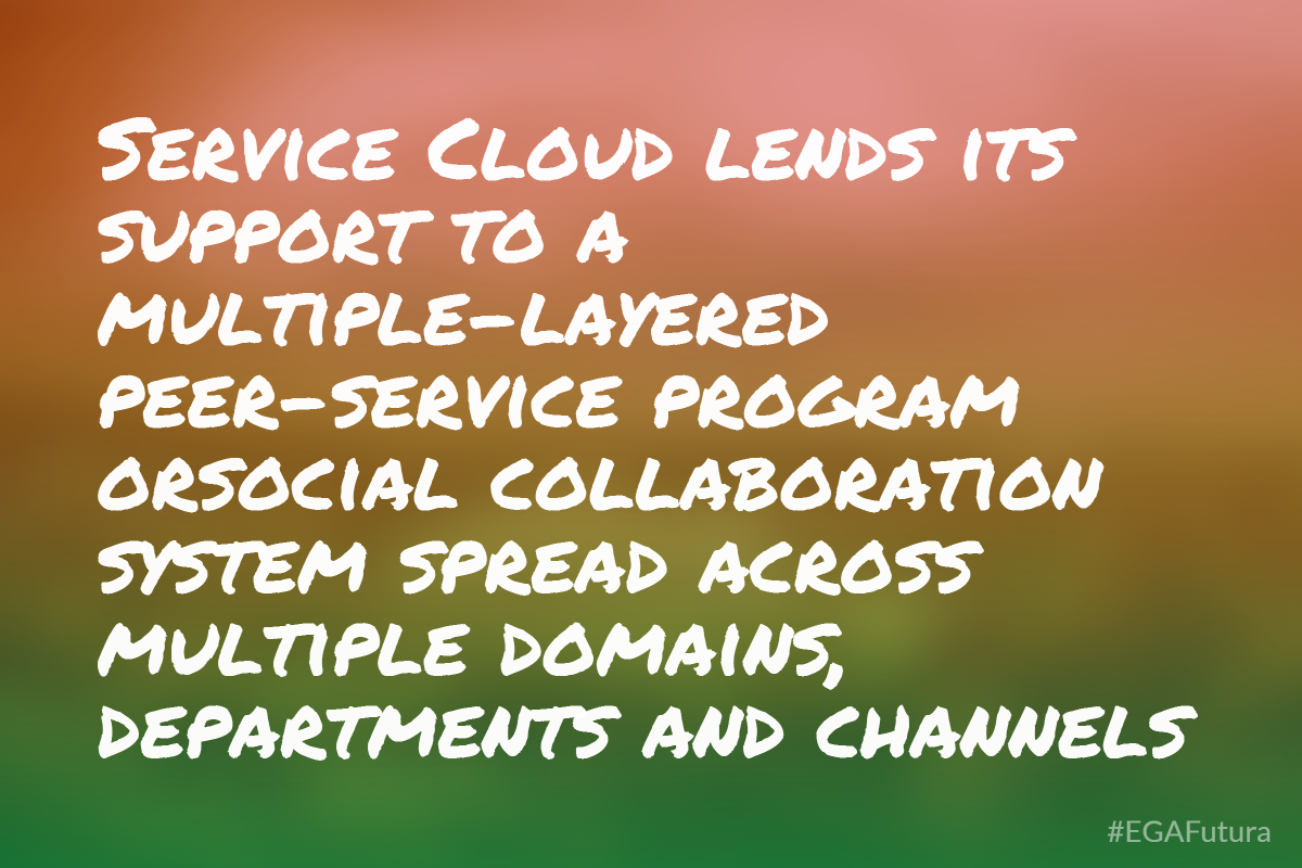 Service Cloud lends its support to a multiple-layered peer-service program orsocial collaboration system spread across multiple domains, departments and channels.