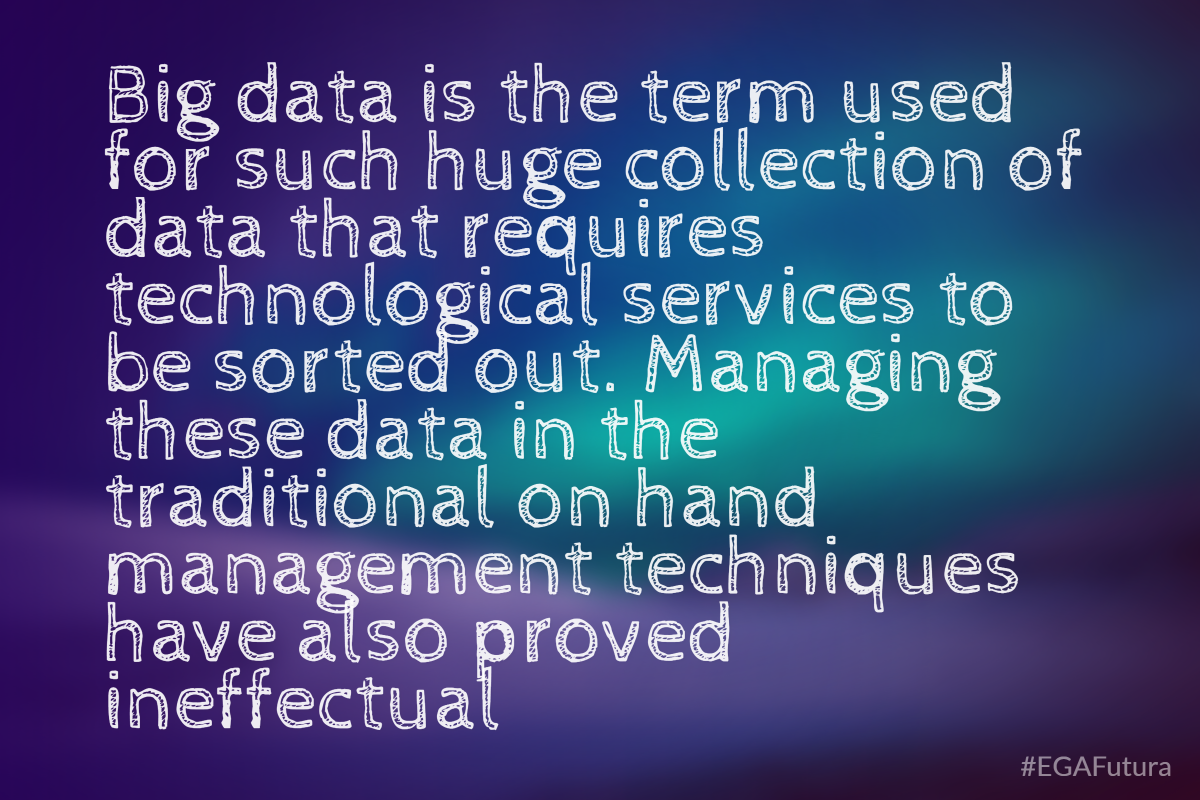Big data is the term used for such huge collection of data that requires technological services to be sorted out. Managing these data in the traditional on hand management techniques have also proved ineffectual.