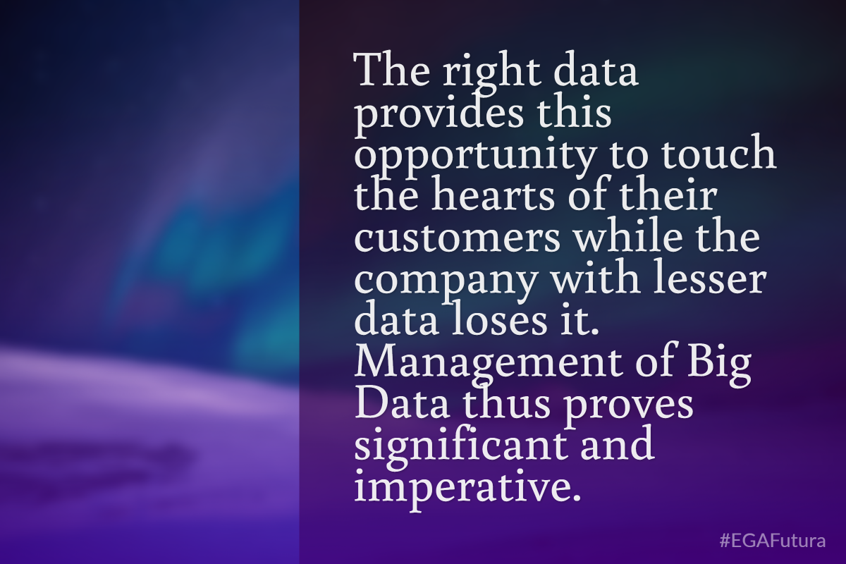 The right data provides this opportunity to touch the hearts of their customers while the company with lesser data loses it. Management of Big Data thus proves significant and imperative.
