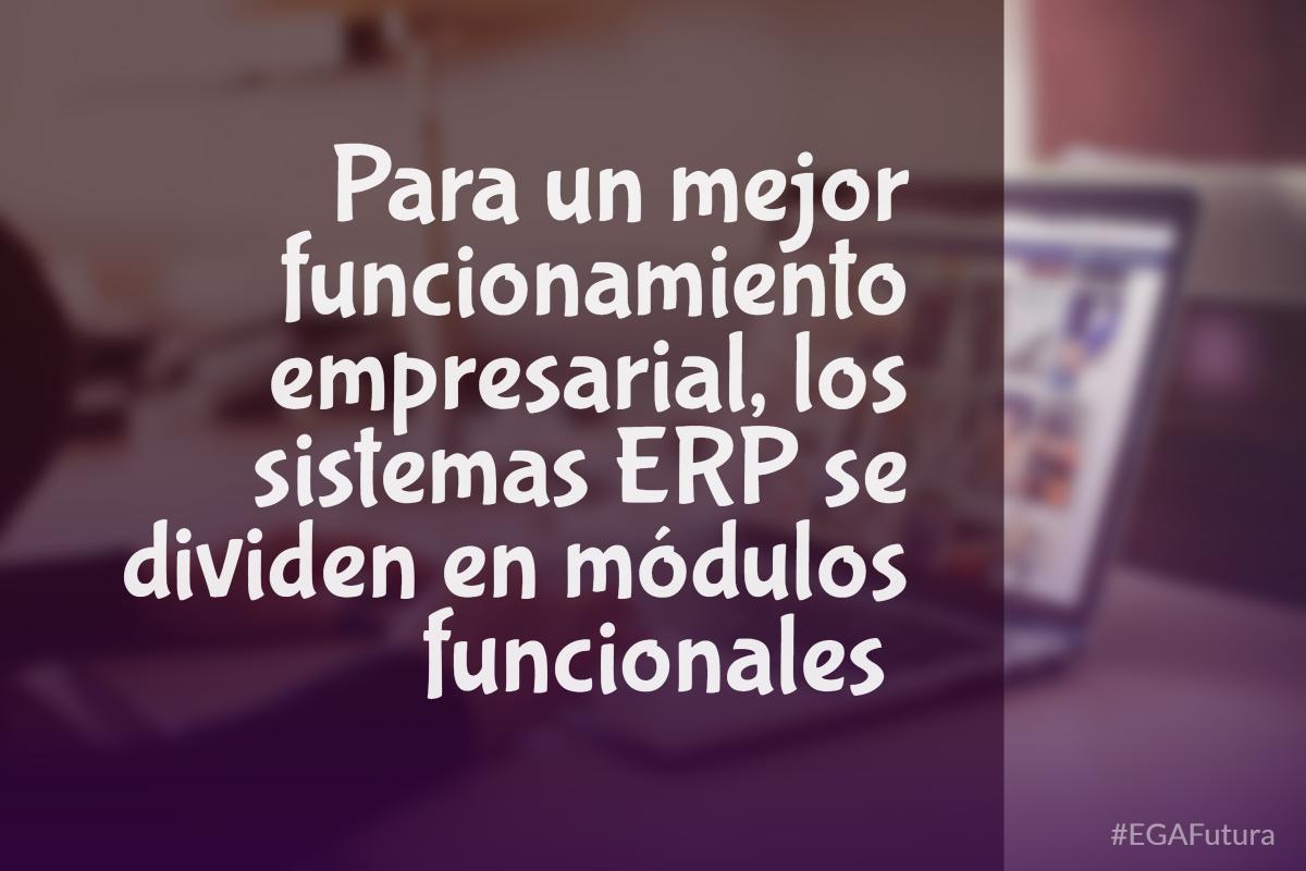 Para un mejor funcionamiento empresarial, los sistemas ERP se dividen en módulos funcionales