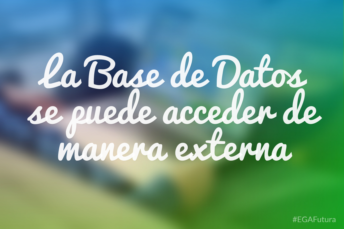 La Base de Datos se puede acceder de manera externa