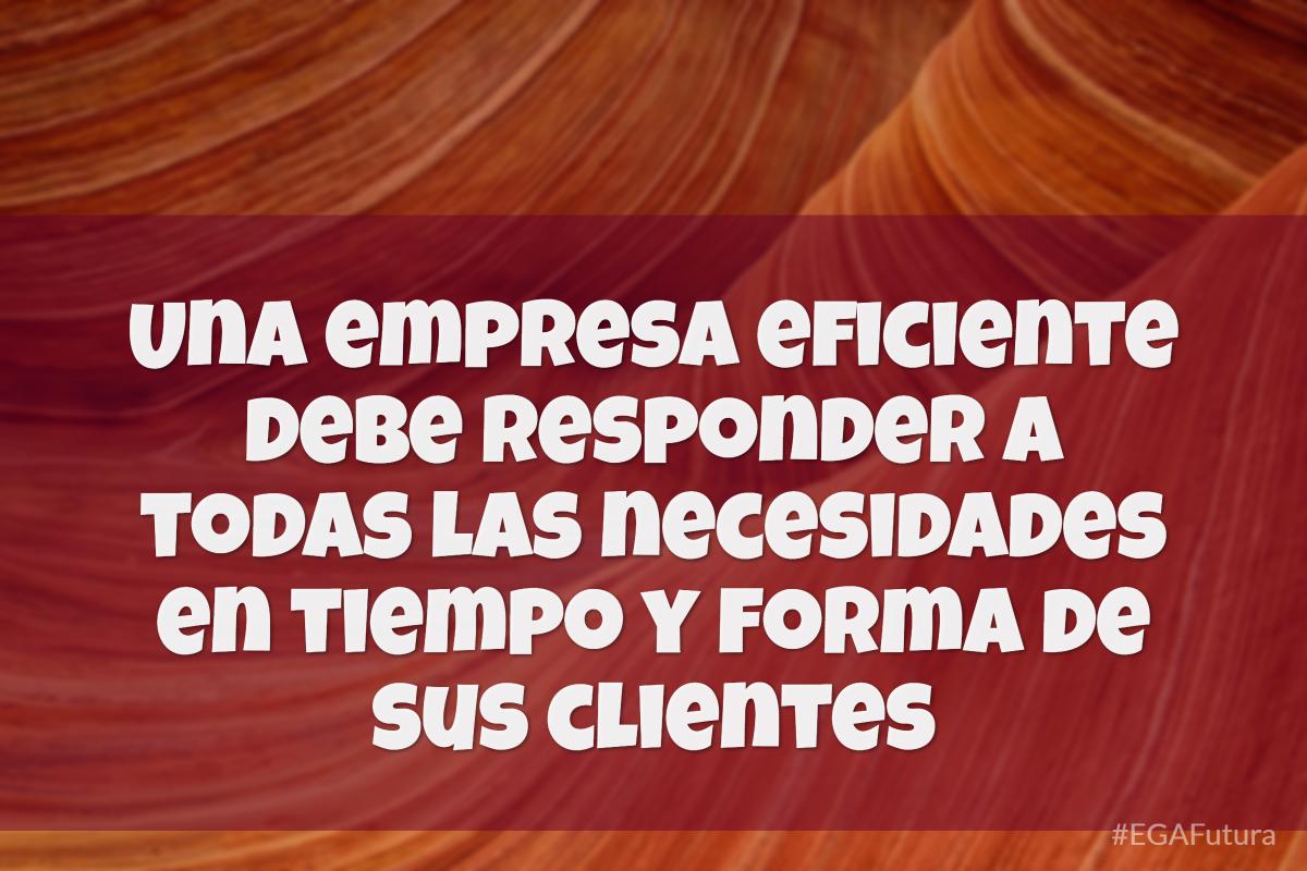 Una empresa eficiente debe resoibder a todas las necesidades en tiempo y forma de sus clientes