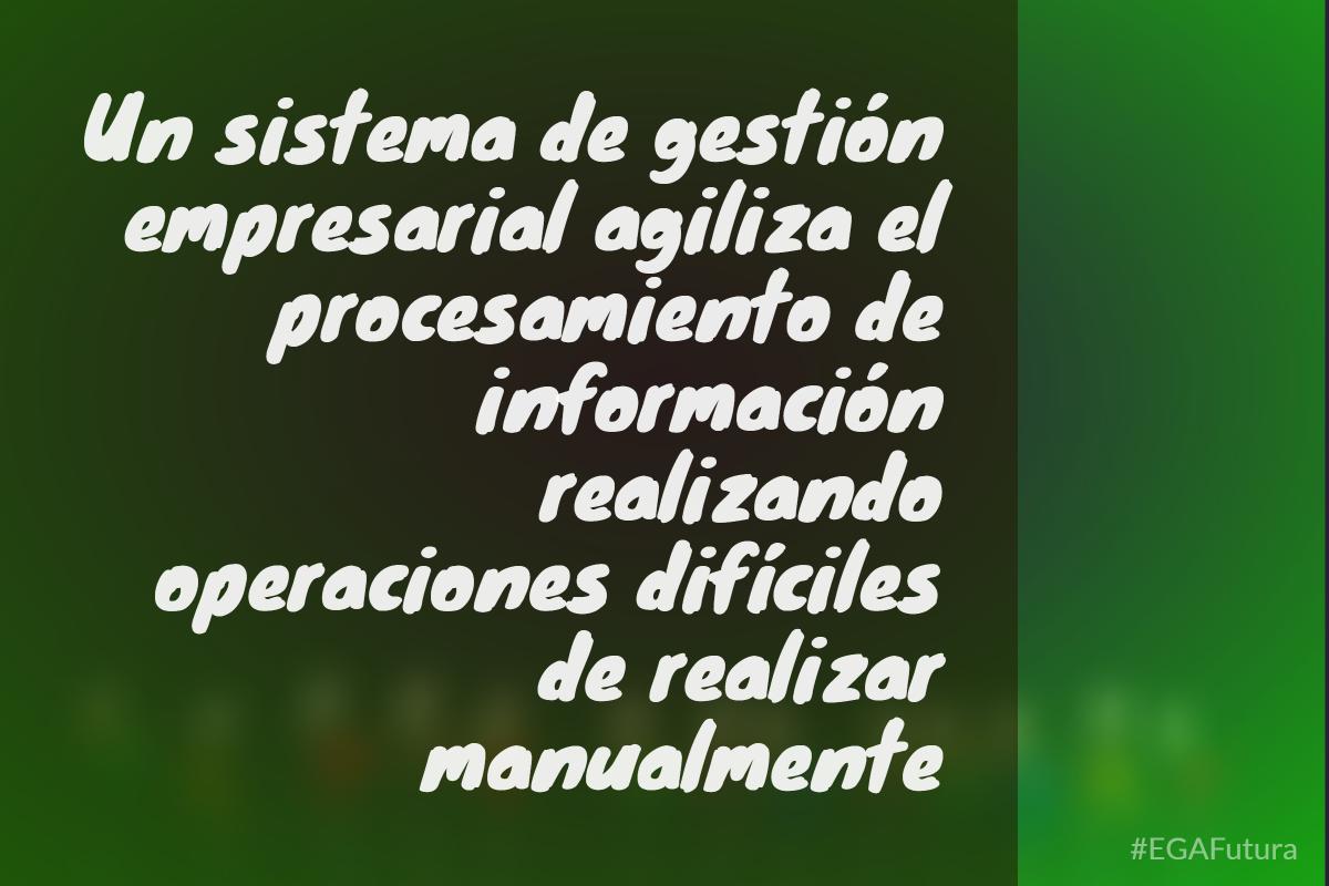 Un sistema de gestión empresarial agiliza el procesamiento de información realizando operaciones difíciles de realizar manualmente