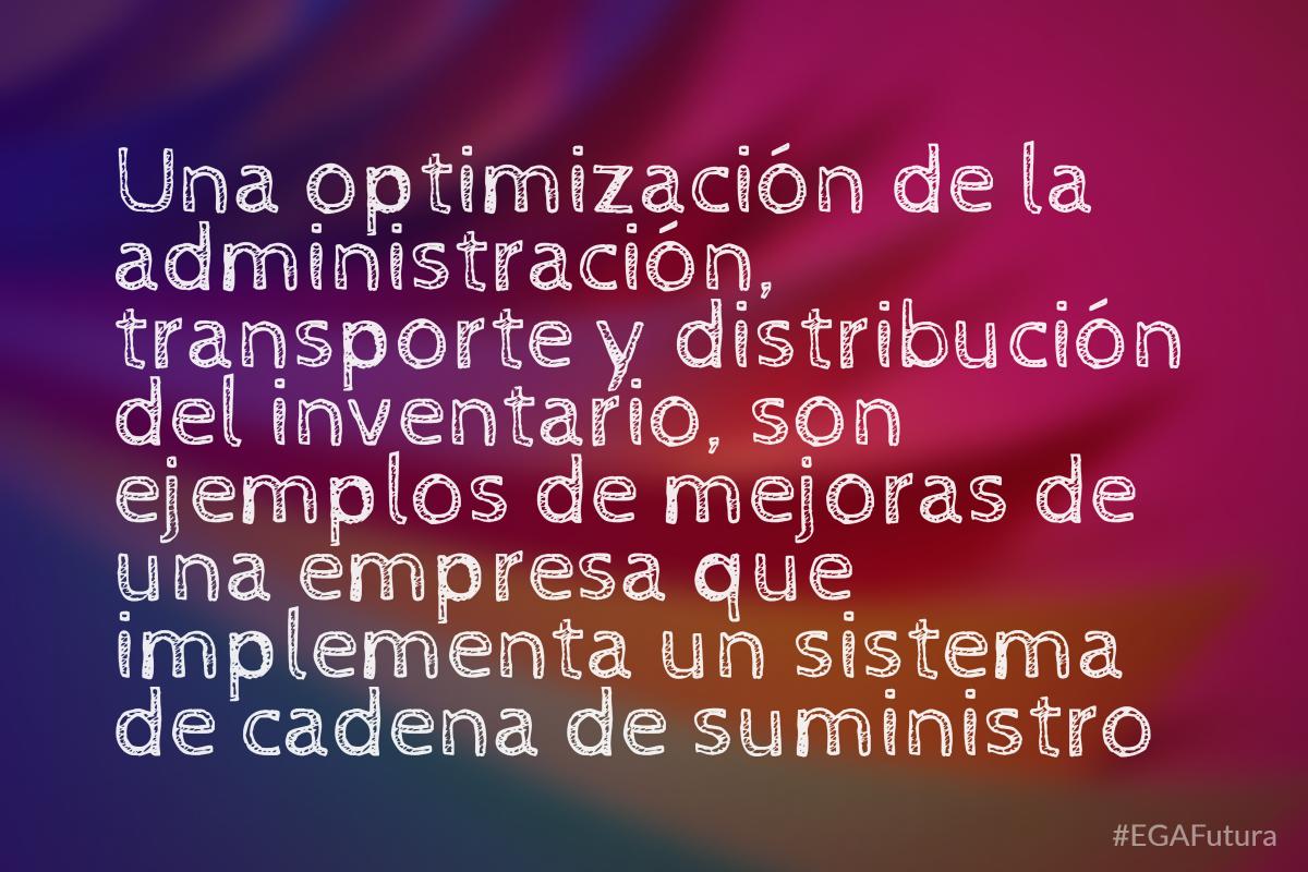Una optimización de la administración, transporte y distribuión del inventario son ejemplos de mejoras de una empresa que implementa un sistema de cadena de suministro