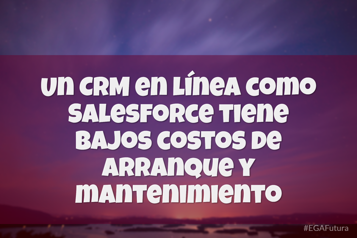 Un CRM en línea como Salesforce tiene bajos costos de arranque y mantenimiento