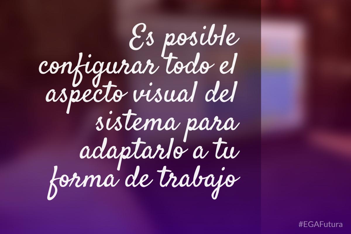 Es posible configurar todo el aspecto visual del sistema para adaptarlo a tu forma de trabajo