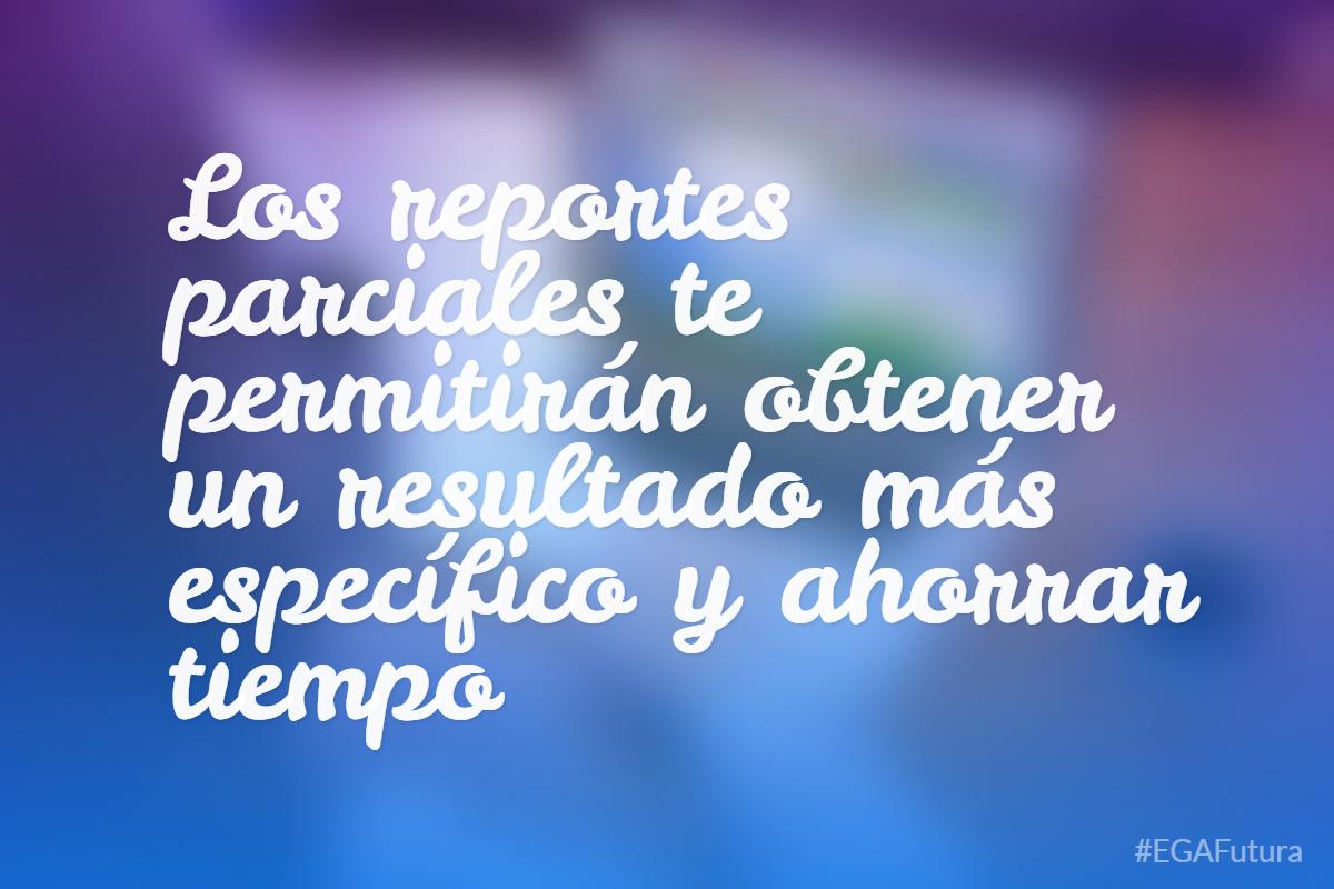 Mariano HurtadoLos reportes parciales te permitirán obtener un resultado más específico y ahorrar tiempo