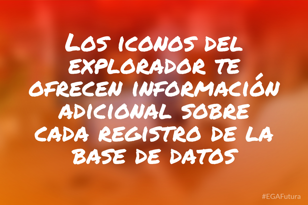 Los iconos del explorador te ofrecen informaci贸n adicional sobre cada registro de la base de datos