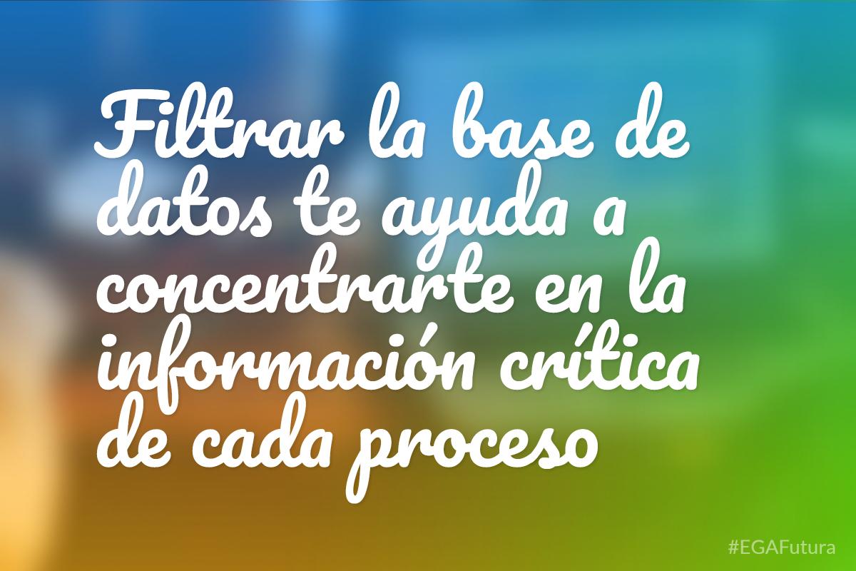 Filtrar la base de datos te ayuda a concentrarte en la informaci贸n cr铆tica de cada proceso