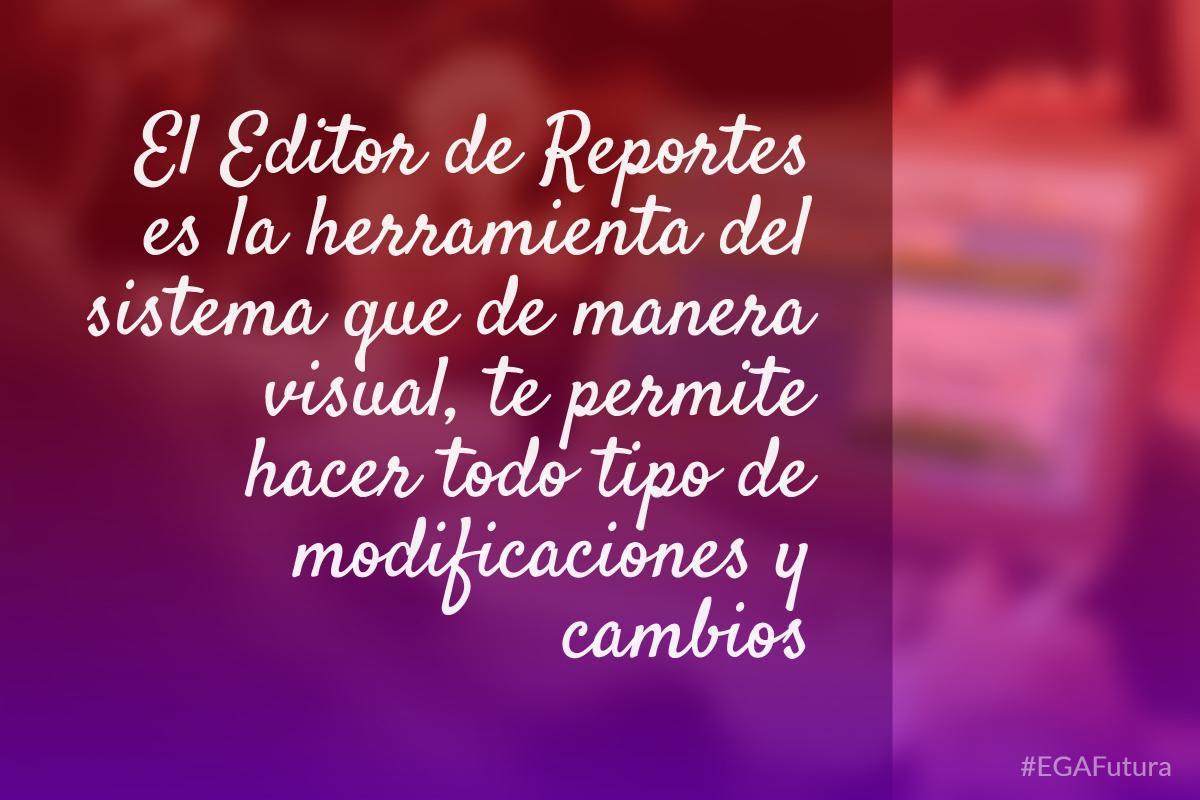 El Editor de Reportes es la herramienta del sistema que de manera visual, te permite hacer todo tipo de modificaciones y cambios