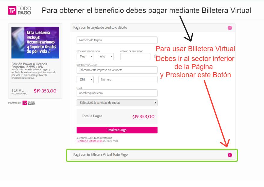 Debes dirigirte al sector inferior de la Pantalla donde aparece la opci贸n Pagar con Billetera Virtual