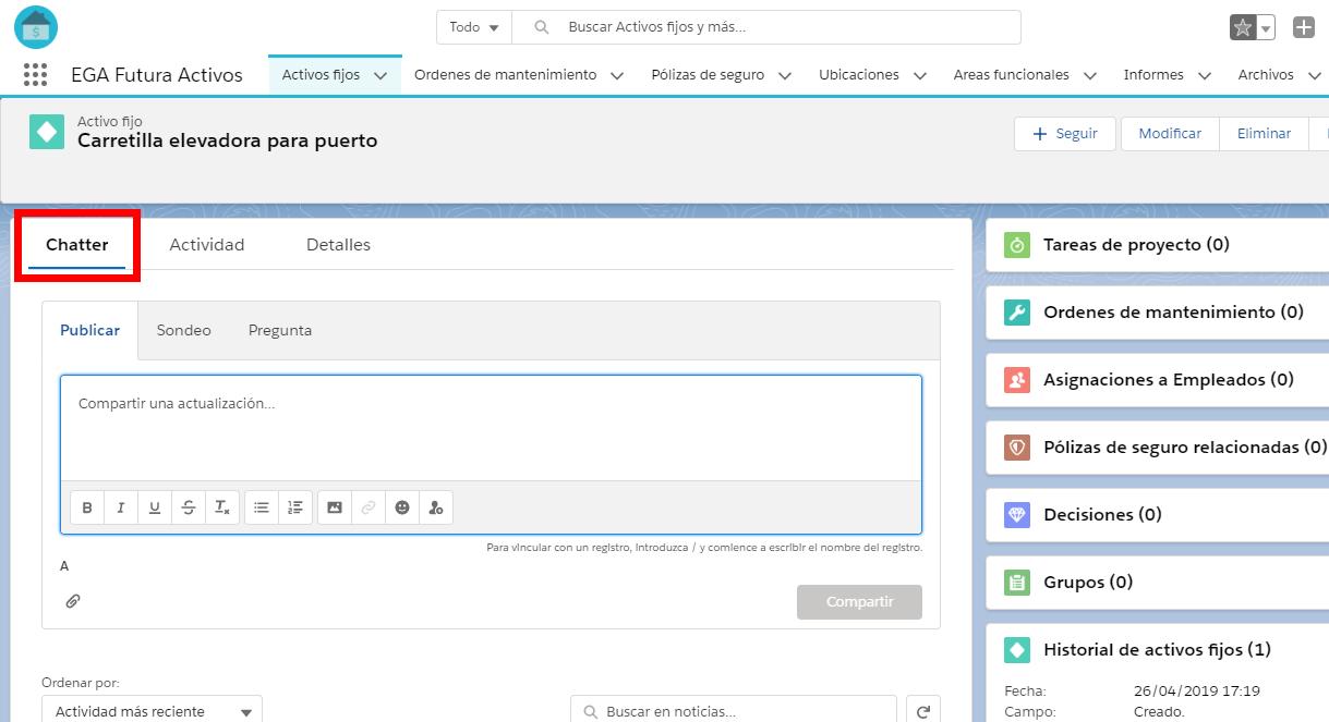 Es posible usar el componente Chatter desde adentro de un registro de la base de datos