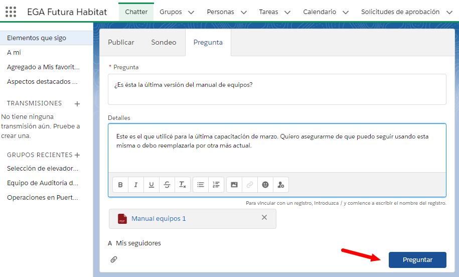 Pregunta en Chatter con archivos adjuntos