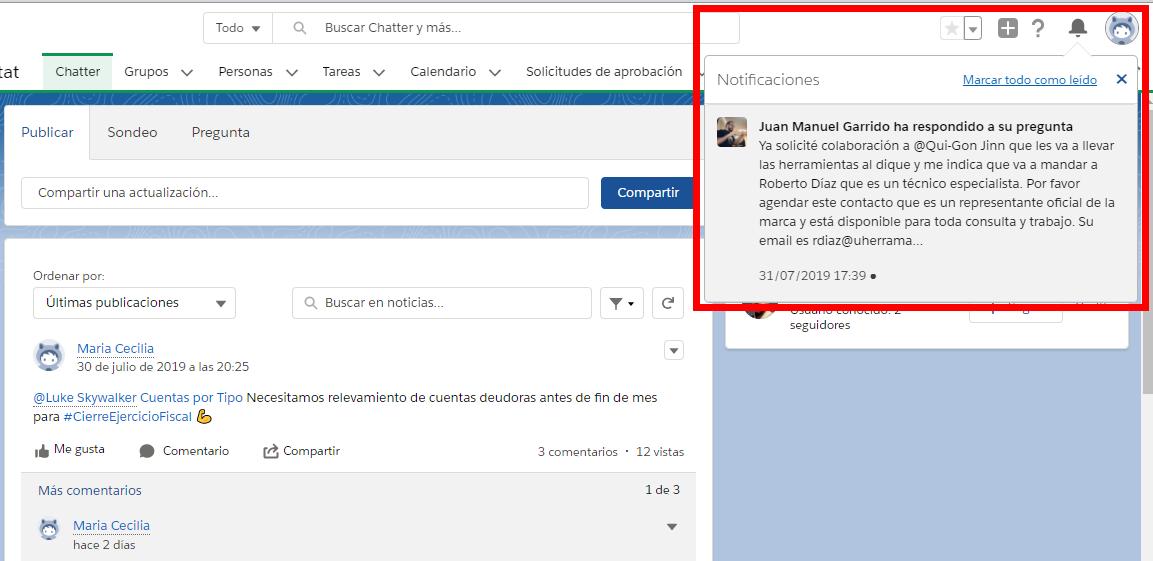 Notificaciones en la aplicacion de EGA Futura ERP