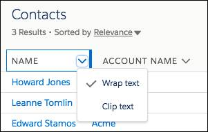 Encabezado de columna con flecha con clic para mostrar las opciones Ajustar texto y Recortar texto