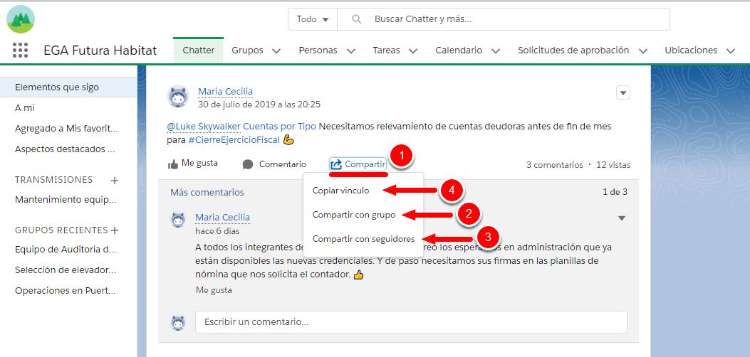 Como compartir una publicacion de Chatter en nuestro perfil - en Grupos - con nuestros seguidores