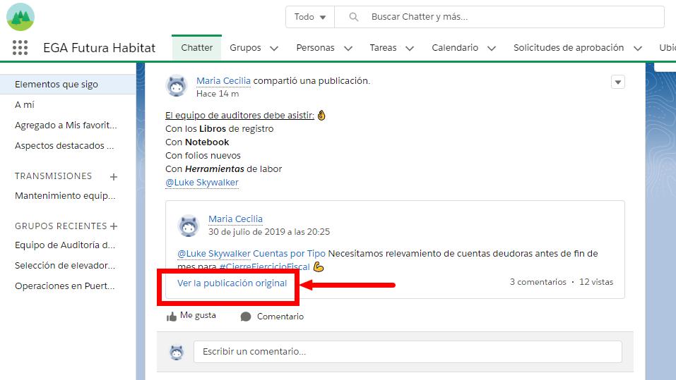 Las publicaciones compartidas tienen un v铆nculo: Ver publicaci贸n original que lleva a los usuarios de vuelta a la publicaci贸n original.