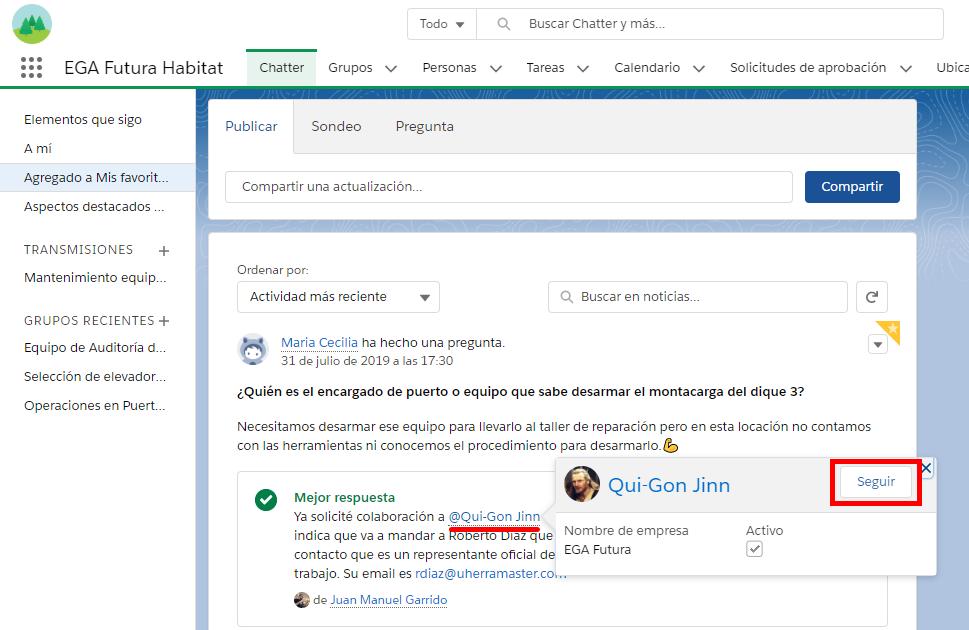 Como seguir un perfil de usuario con la tarjeta de contacto en noticias en tiempo real de Chatter