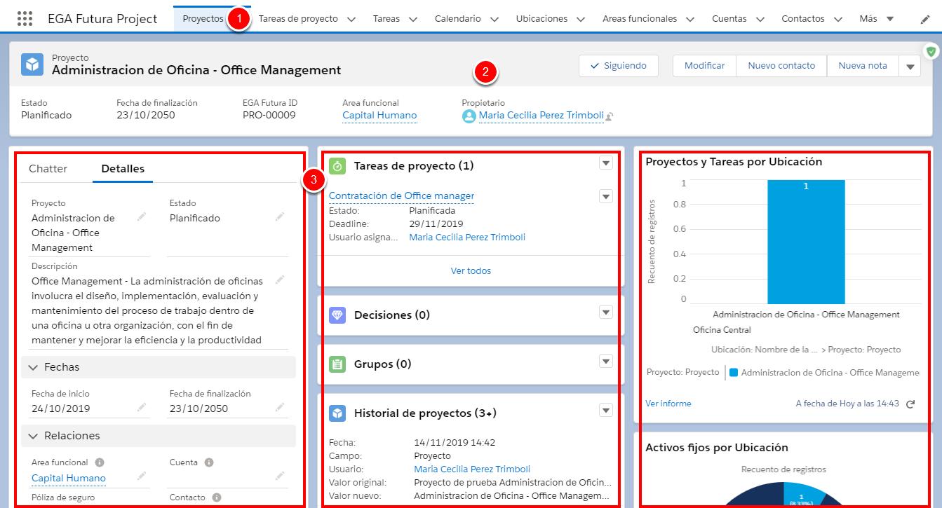 Distribución de los componentes de un proyecto en la Página de inicio de un proyecto
