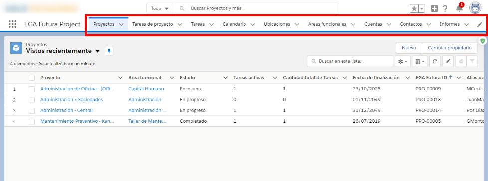 La barra de navegación muestras las pestañas de las distintas páginas que componen la aplicación y otros elementos