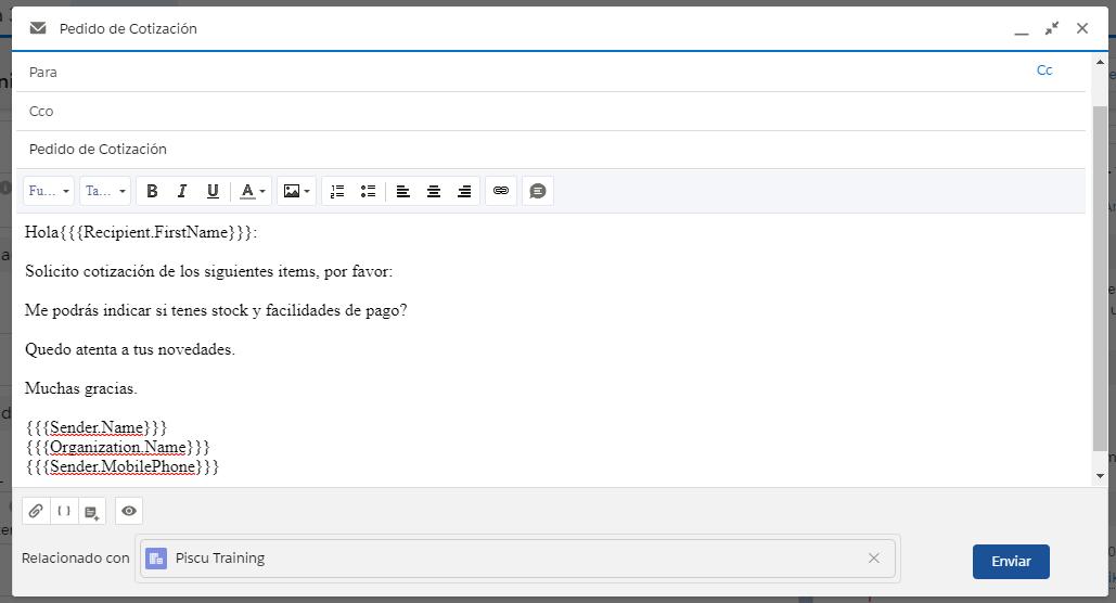 Un campo de combinación es una etiqueta que se aplica a un correo electrónico, a una plantilla de correo electrónico o a un membrete. Esa etiqueta tiene un código que se corresponde con un campo único dentro de la base de datos. Cuando se aplica la etiqueta al texto de un correo, membrete o plantilla de email, al momento en que ese email es enviado, la etiqueta es reemplazada por el valor contenido en ese campo dentro de la base de datos. Sirven para personalizar los correos electrónicos de forma automática. Según se apliquen al texto podrán contener datos del destinatario, de registros de la base de datos o del remitente y de la compañía. Campo de combinación, también suele denominarse etiqueta, campo de reemplazo o marcador de posición.