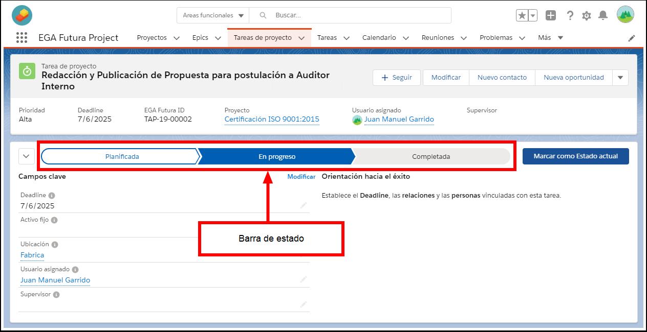 Barra estado herramientas utilidades navegacion tareas Plataforma EGA Futura ERP sistema software nube gestion empresarial