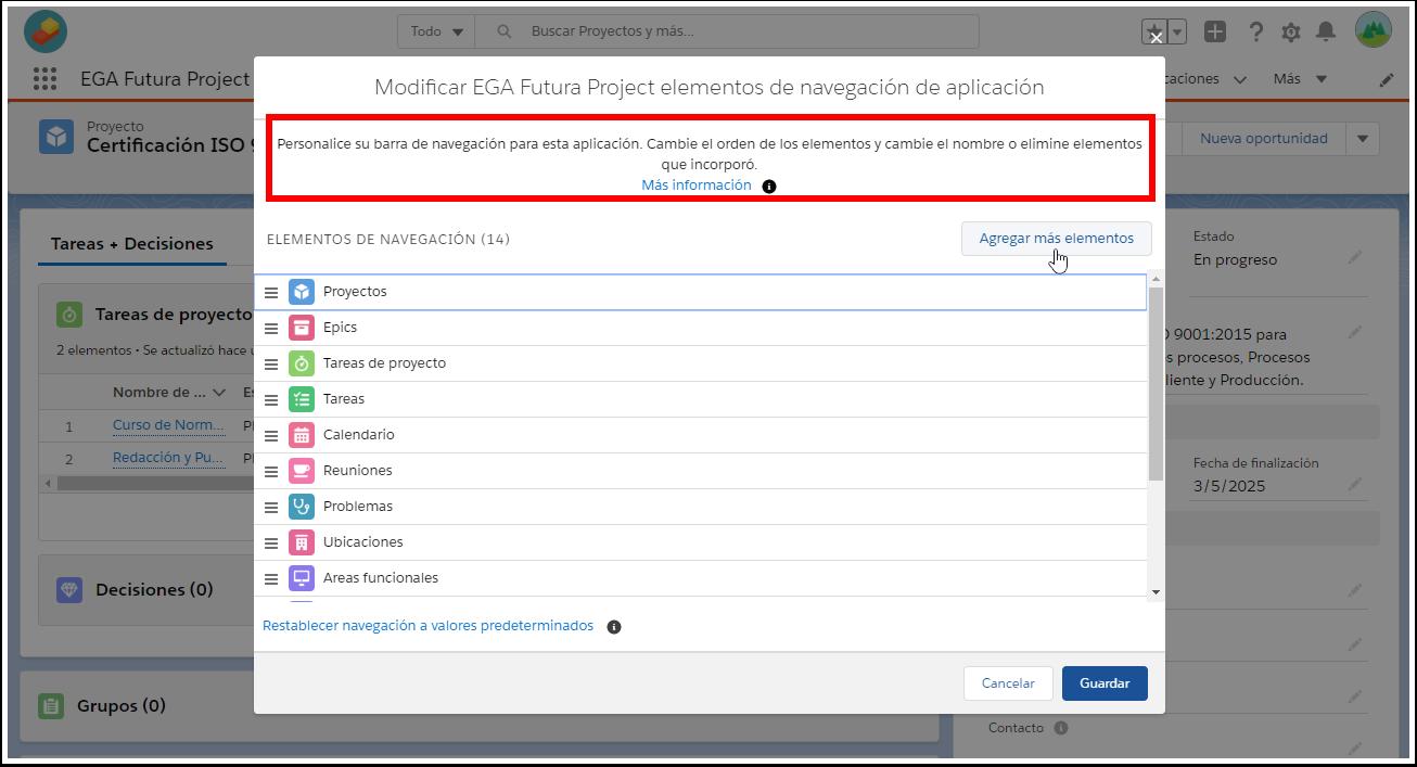 Barra de navegacion forma de editar componentes Plataforma EGA Futura ERP nube