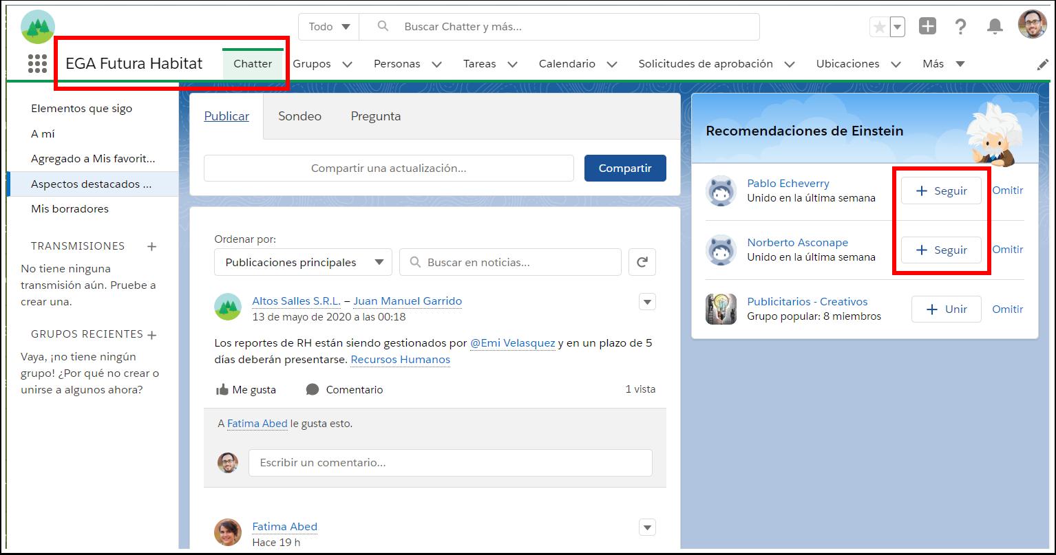 Seguir es activar una suscripción al perfil de una persona (usuario), a un tema o a un registro de la plataforma. Seguir permite enterarse de todas las actualizaciones de los elementos que se sigue. Las novedades aparecen en las Noticias en tiempo real de Chatter. Hacer seguimiento de un usuario permite ver las publicaciones de las personas que sigue. Seguir un grupo permite conocer todas las publicaciones y comentarios del grupo seleccionado. Seguir un registro permite ver las publicaciones, los comentarios y las modificaciones de sus campos.