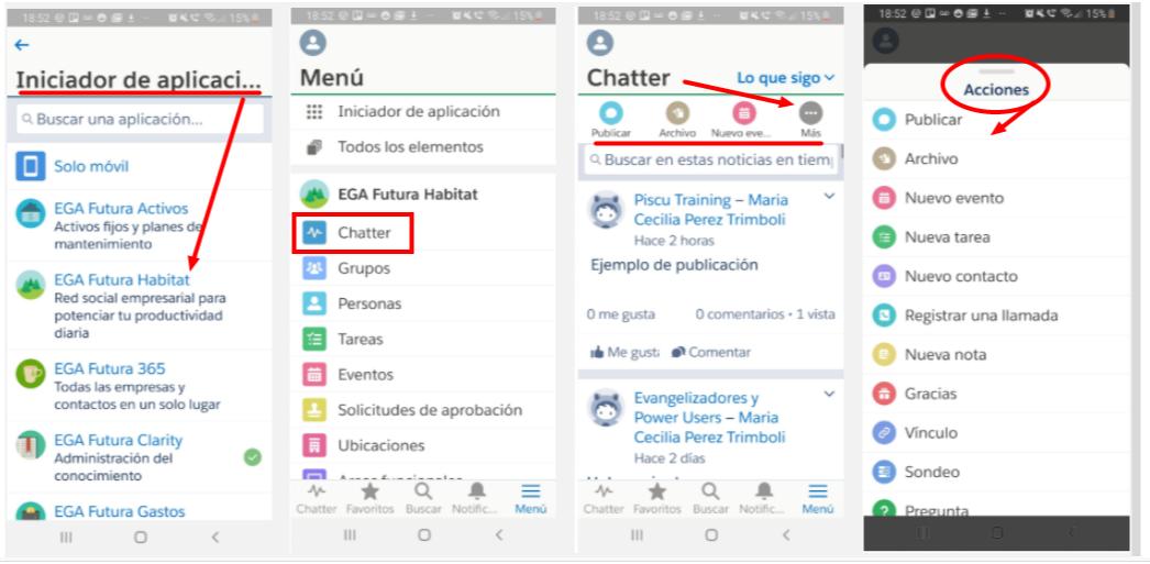 Publicador Chatter Aplicacion movil EGA Futura nube