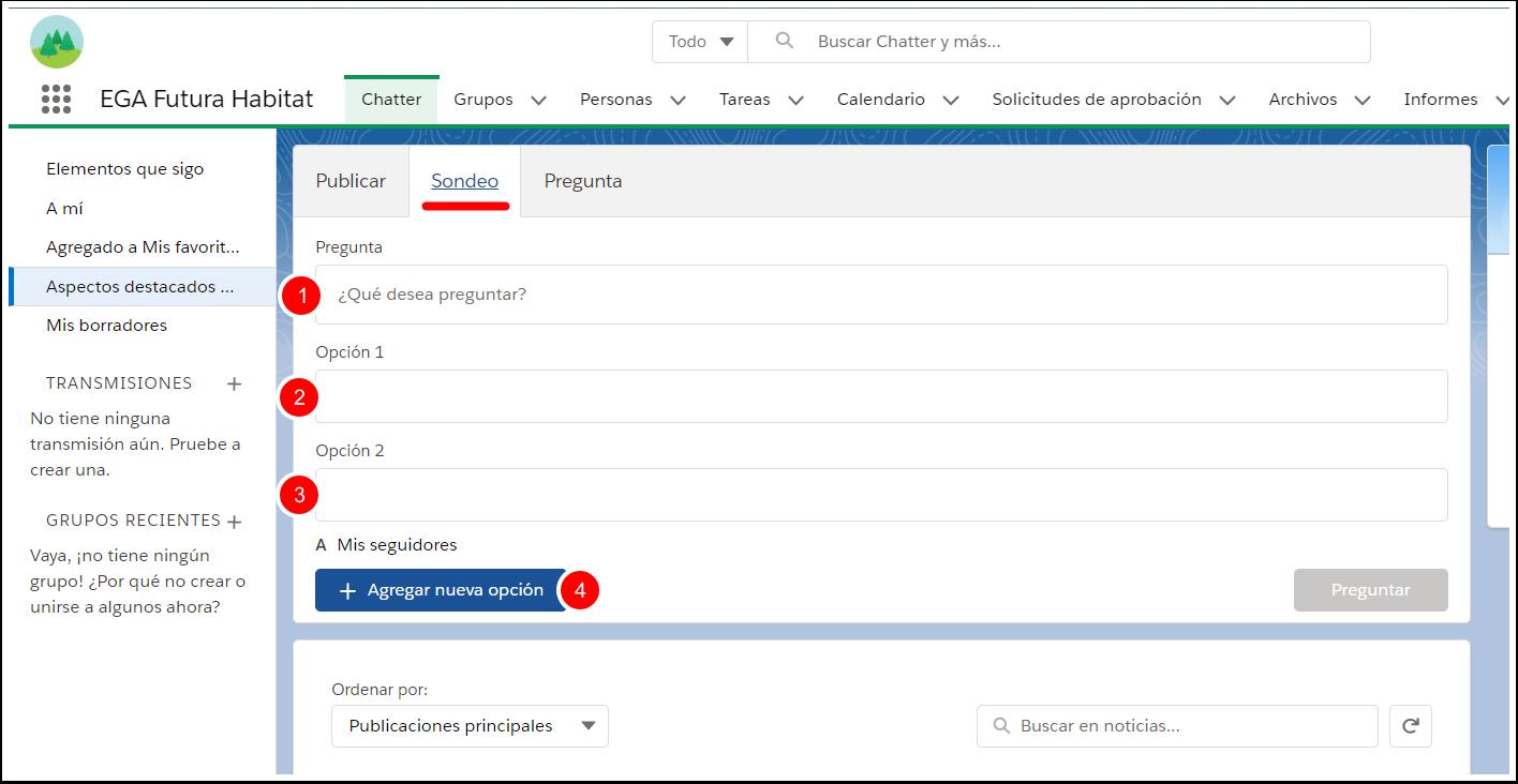 Sondeo encuesta votacion Chatter EGA Futura ERP nube
