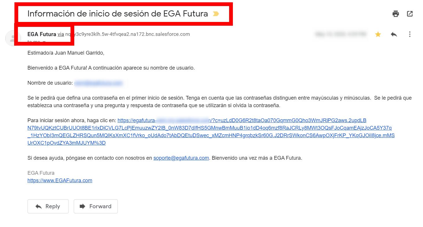 Inicio de sesión de EGA Futura