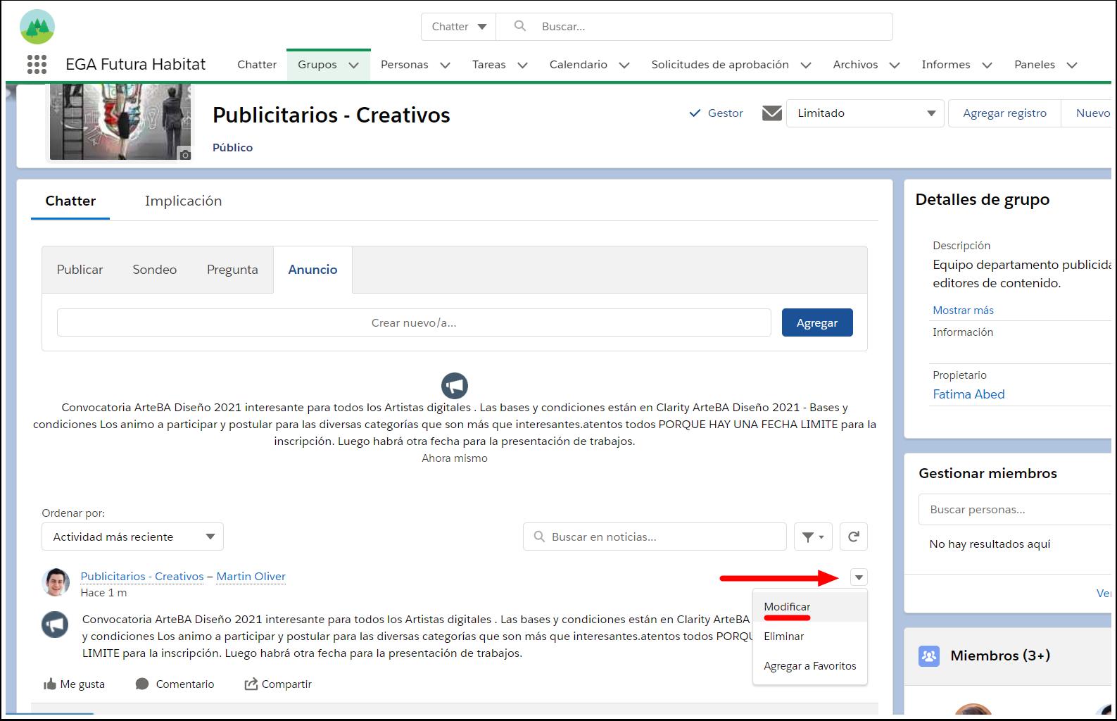 Modificar editar anuncio Grupo Chatter EGA Futura ERP nube