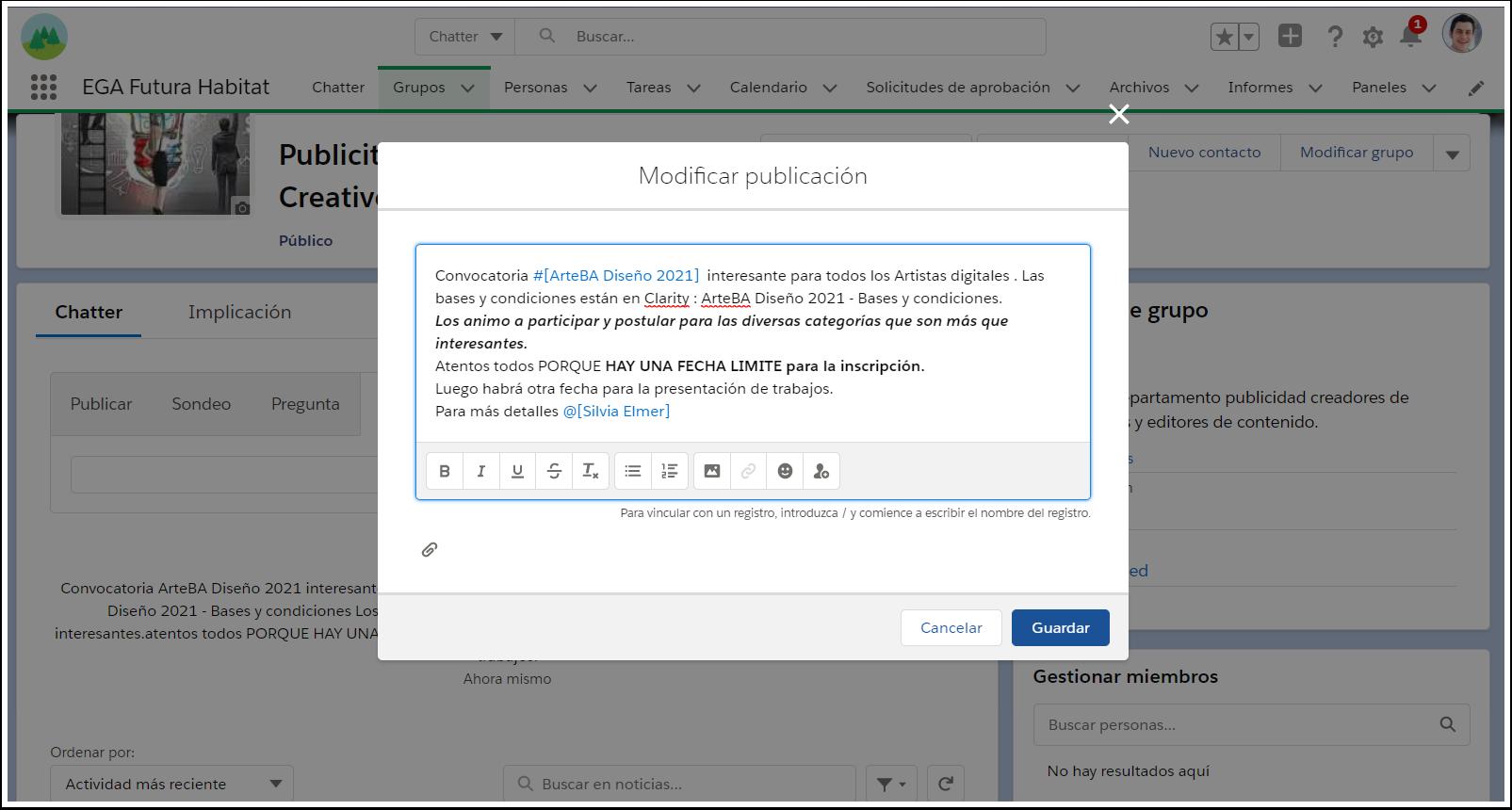 Ventana Modificar editar formato anuncio Grupo Chatter EGA Futura ERP nube