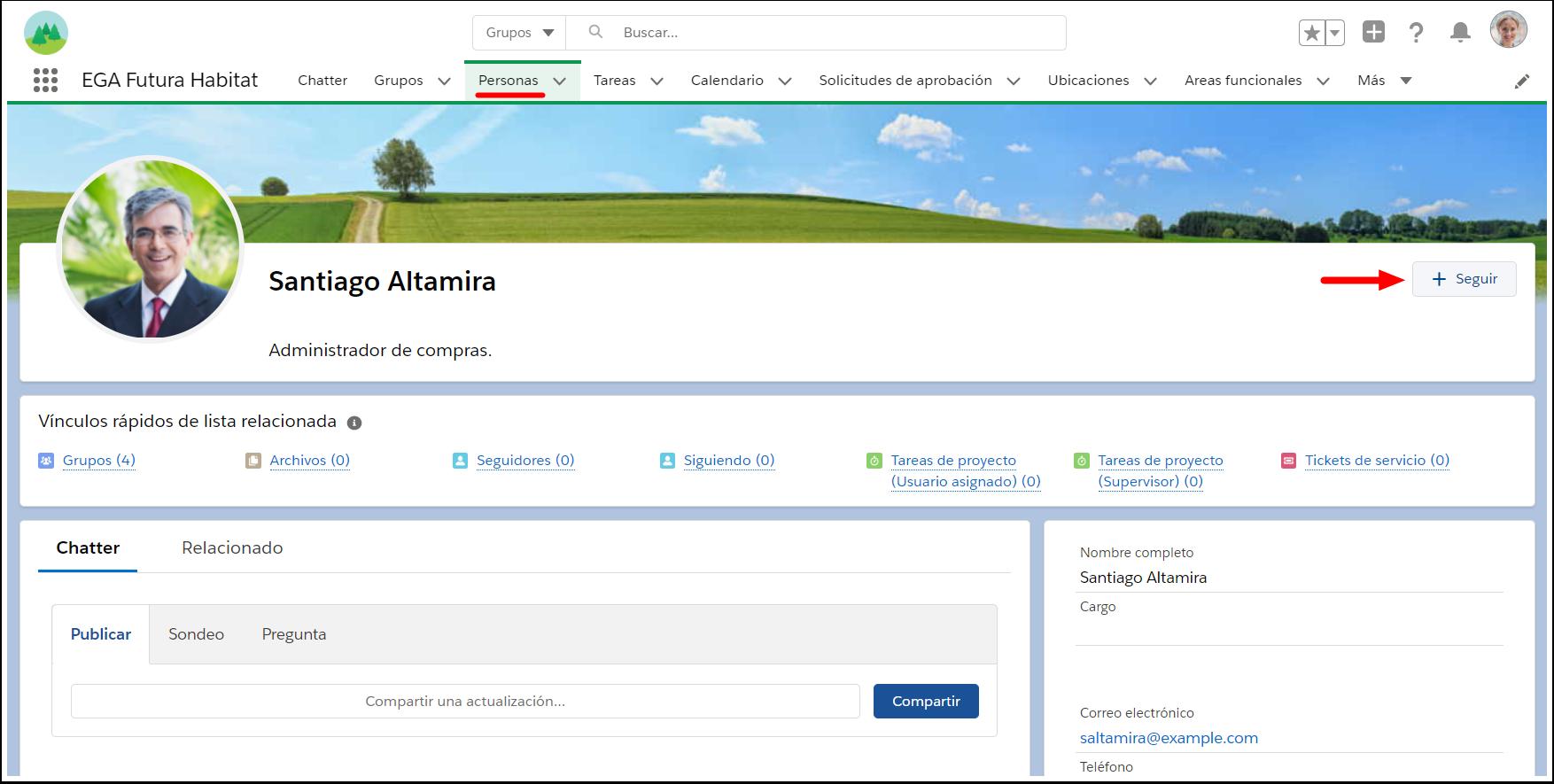 Seguir usuario persona Chatter Plataforma EGA Futura ERP nube