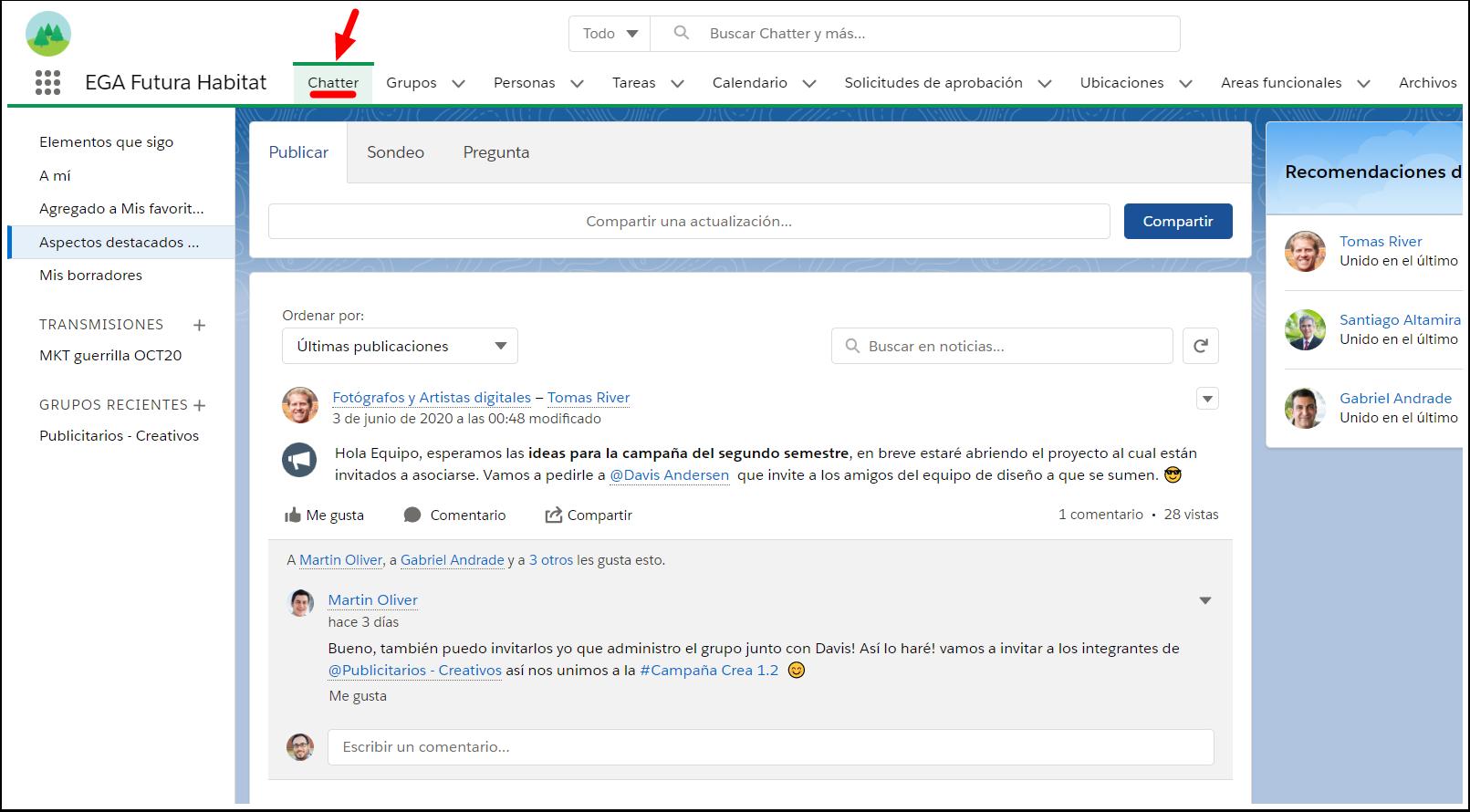Acceso pagina ficha Chatter EGA聽Futura Habitat ERP nube