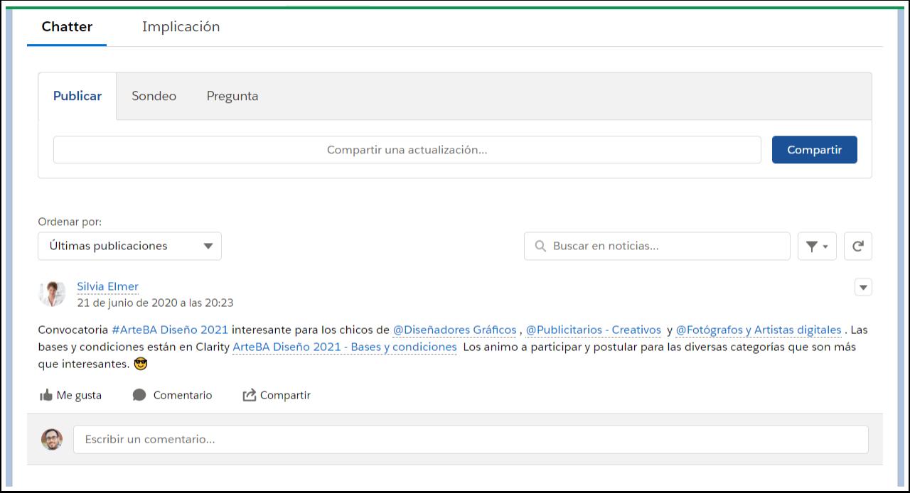 Habitat publicacion red social Chatter EGA Futura ERP nube