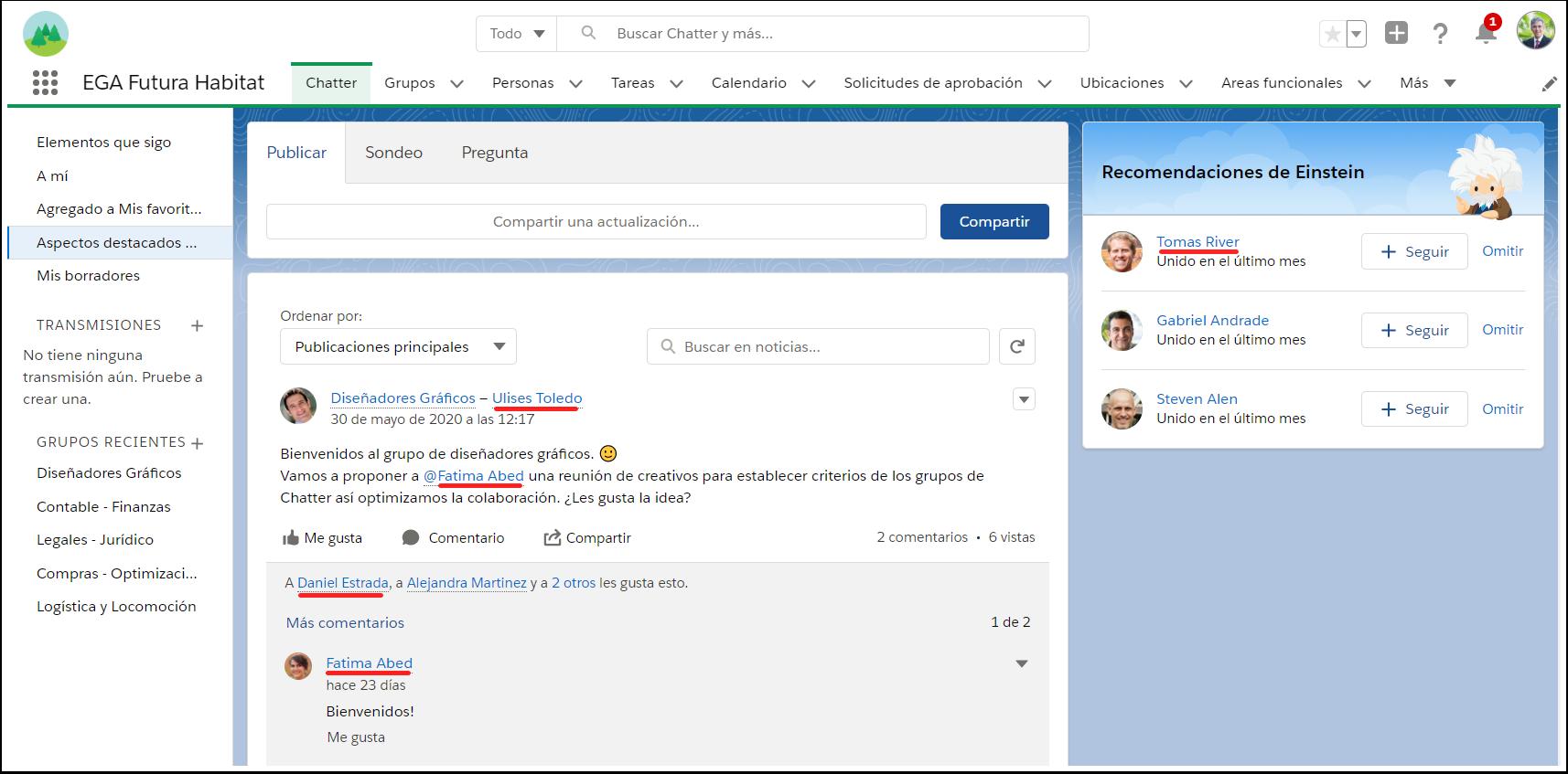 Lugares menciones personas perfil usuarios plataforma EGA Futura ERP nube