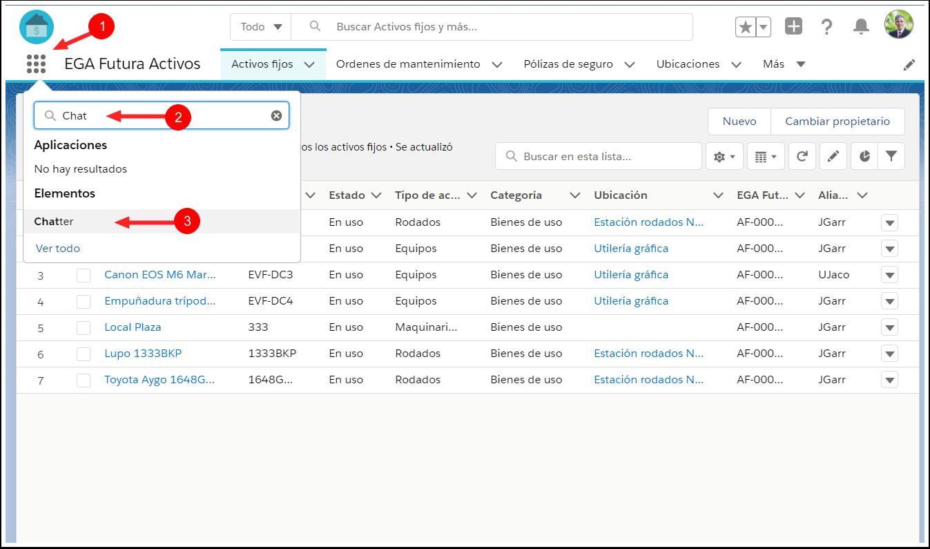 Acceder Chatter desde buscador iniciador Aplicacion Waffle EGA Futura ERP nube