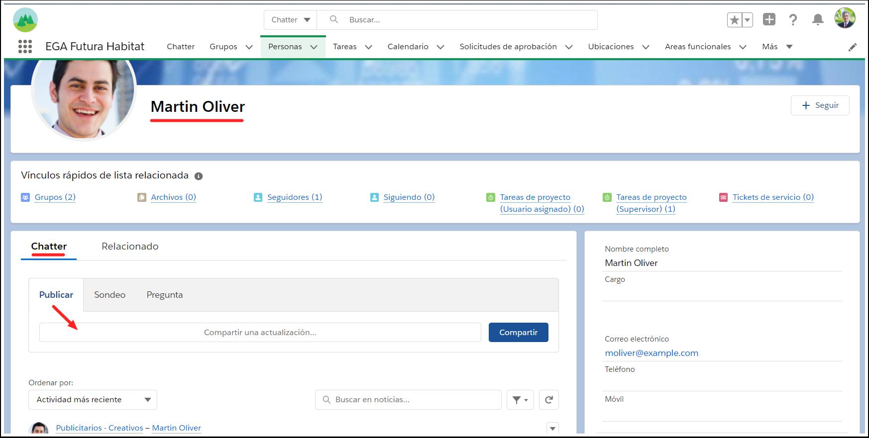 Chatter desde perfil usuario persona EGA Futura ERP nube