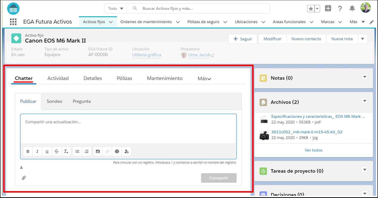 Acceder Chatter desde Registro Plataforma EGA Futura nube