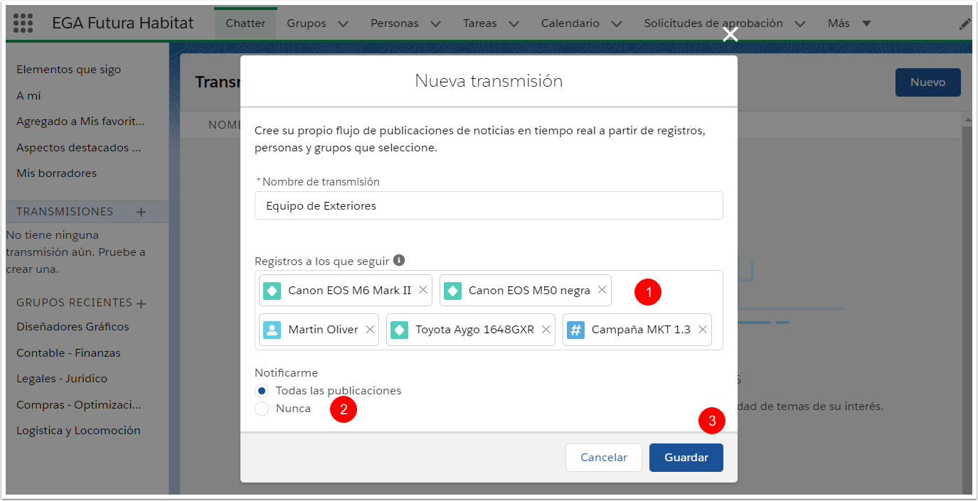 Seleccionar opcion notificaciones Guardar Transmision Chatter Plataforma EGA Futura ERP nube